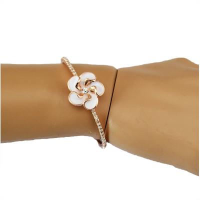 B-0494 New Fashion Style Gold Plated Cream Flower Rhinestone Bracelets open cuff