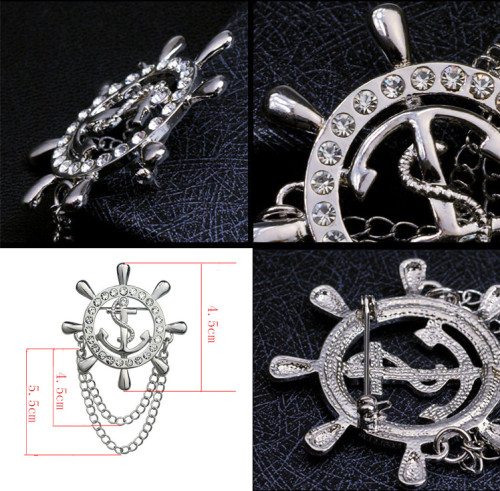P-0184 New Korea style inlay  crystal  navy   anchor  rudder Collar Brooch pin  For men jewelry