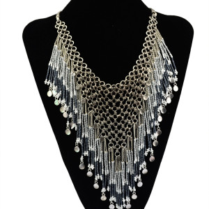 N-5530 Bohemian silver clover design long colorful african bead tassel pendant & stacked statement choker necklace