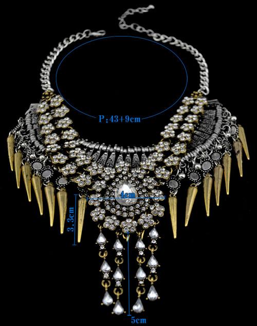 N-5525 Luxury Brand Fashion Style Silver Plated Choker Long Tassel Statement Rhinestone Pendant Necklace