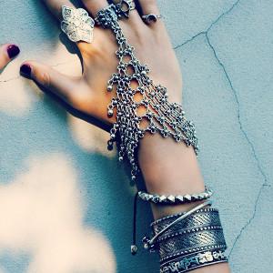 B-0506 Bohemian silver floral design boho bracelet statement ,tribal chic turkish gypsy jewelry for women