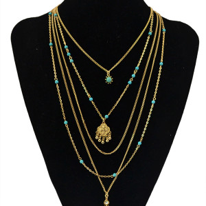 N-5524 New Design Fashion Multilayer Chain Necklaces Silver Gold Plated Ball Turquoise Beads Crystal Flower Long Tassel Pendant Necklace Statement Jewelry