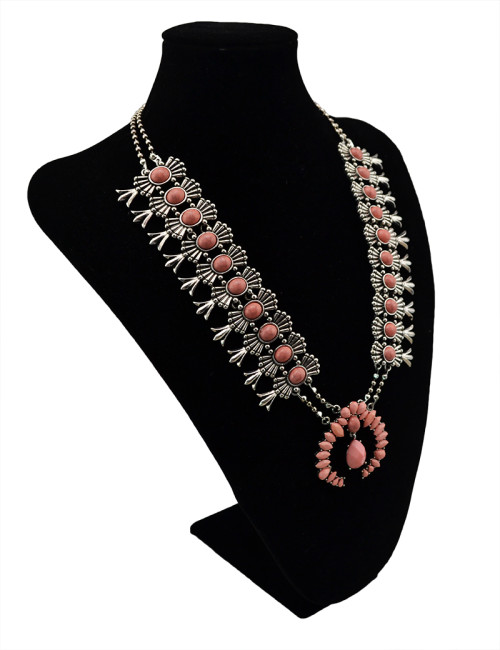 N-5529 Bohemian style silver plted chunky chain turquoise pink red gem stone resin flower pendant necklace