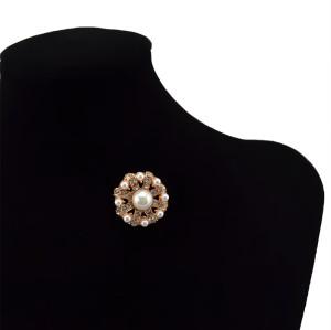 P-0180 Rhinestone Crystal Wedding Bridal Bouquet Gold  Flower Faux Pearl Brooch Pin