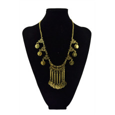 N-5519 New Fashion Style Silver & Gold  Plated Choker coinsTassel Statement Pendant Necklace