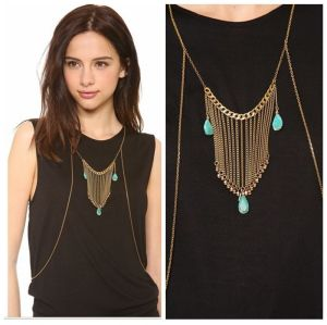 N-5537 Bohemian Turkish European New fashion Punk droplets tassel body chain necklace