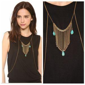 N-5537 Bohemian Turkish European New fashion Punk droplets tassel body chain necklace