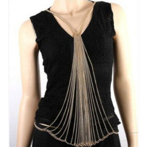 N-5532 European and American Fashion Long Body Chain Jewelry for Sexy Girls Gold Plated Multilayer Chain Body Jewelry