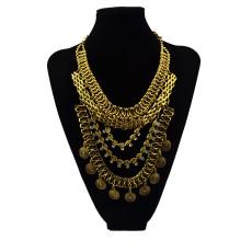 N-5544 Bohemian Style Gun Black gold silver chain crystal choker bib statement necklace