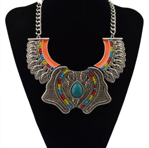 N-5542 European style silver gold rhinestone colorful gem stone bead retro carving flower luxury brand statement necklace bohemian jewelry