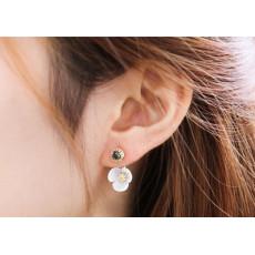 E-3491 Korean Fashion Style Sweet Elegant Crystal Shell Flower Stud Earrings for Women