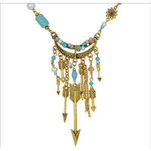 N-5557 Bohemian Style vintage alloy plated arrows long tassel turpuoise pendant necklace