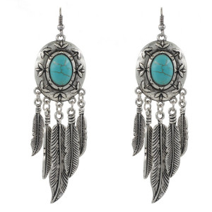 E-3497 Bohemian Vintage Silver Carving Metal Turquoise Feather Shape Dangle Earrings