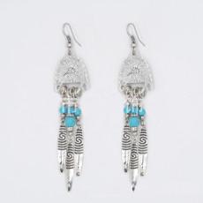 E-3495 Bohemian Vintage Silver Plated Metal Drop Bead Leaf Shape Dangle Earrings