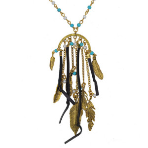N-5560 Bohemian Vintage  Fashion Style Gold & Silver Plated Carving leaf Beads Black Leather Long Pendant Necklace, For Women  Earrings & Necklace Set