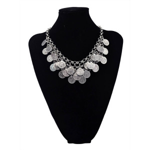 N-5551 Bohemian Turkish Boho Silver Alloy Blu Coin  Necklace