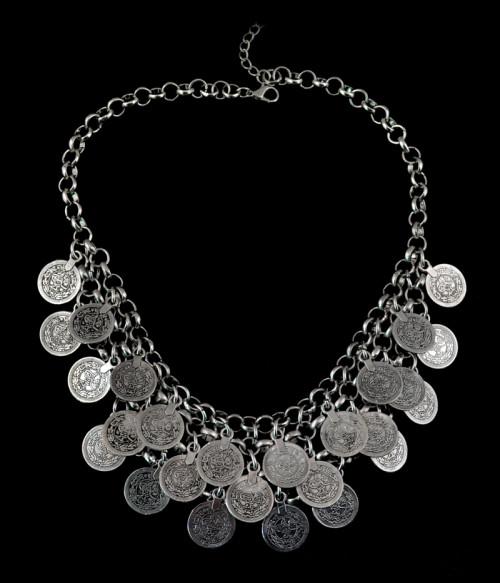 N-5551 Bohemian Turkish Boho Silver Alloy Blu Coin  Necklace