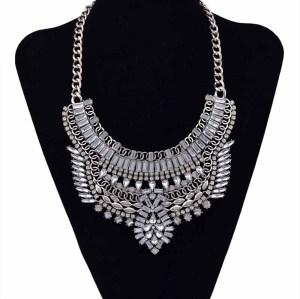 N-5550 European style silver plated full rhinestone crystal flower luxury big statement necklace 2015