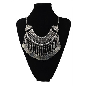 N-5545 Bohemian Silver Vintage carving flower coin Long Tassel Choker Statement Necklace