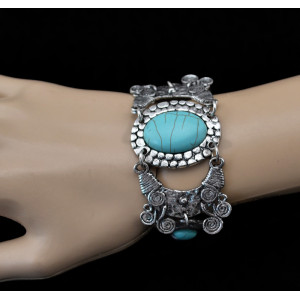 B-0512 New Arrival Bohemian Vintage Summer Style Tibetan Silver Flowers Turquoise Bracelet Bangle Jewelry for Women Accessories