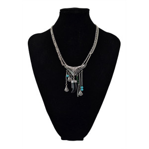 N-5568 New Coming Vintage Silver Plated National Style Horn Double Chain Long Pendant Necklace
