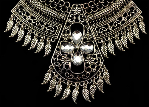 N-5583  Bohemain style silver gold plated big chunky chain rhinestone leaves tassel statement necklace