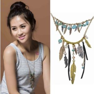 N-5559 Bohemian Vintage  Fashion Style Gold & Silver Plated Carving leaf Beads Black Leather Long Pendant Necklace, For Women  Earrings & Necklace Set