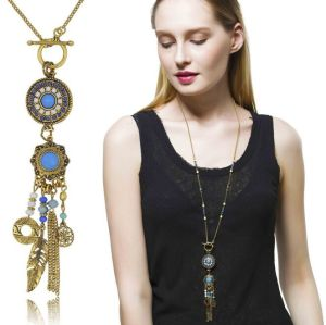 N-5558 Bohemian tibetan silver blue beads coin tassel long bead leaf necklace and earrings sets