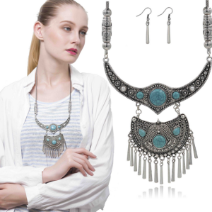 N-5554 Bohemian New Vintage Silver Snake Chain Crystal Turquise Beads Large Pendant Long Tassel Necklace Earrings Set