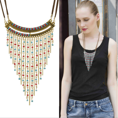N-5470 Bohemian style double leather chain gold silver colorful bead long tassel statement necklace earing sets
