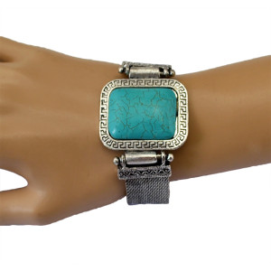 B-0508 Bohemian Vintage Style Square Turquoise Tibetan Silver Plated Wide Chain Bangle Bracelet for Women Jewelry Gift