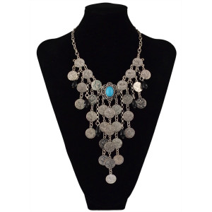 N-5577  Gypsy Boho Beachy Chic silver plated blue black gem stone drop coin tassel statement necklace ,ethnic summer style choker bib necklace 2015