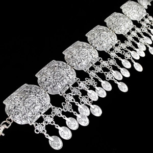 N-5574  Vintage Style Turkish Gypsy Silver Plated Alloy Coin Belly Body Chain Waist