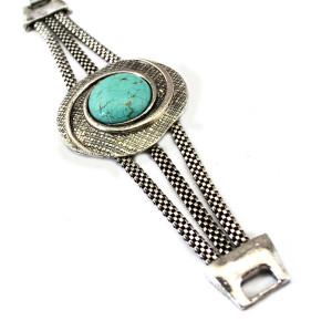 B-0518 Bohemian Vintage Style Turquoise Tibetan Silver Plated Snake Chain Bracelet