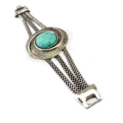 B-0518 Bohemian Vintage Style Turquoise Tibetan Silver Plated Snake Chain Bracelet