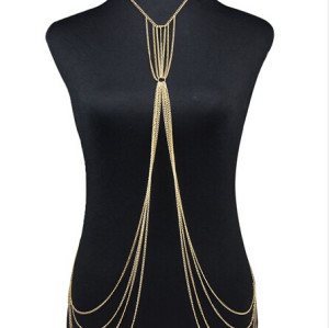 N-5575  European and American Fashion Long Body Chain Jewelry for Sexy Girls Gold Plated Multilayer Chain Body Jewelry
