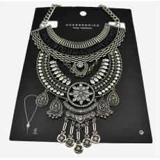 N-5598  European style black resin bead chunky chain carving luxury rhinestone flower tassel choker bib statement necklace 2015
