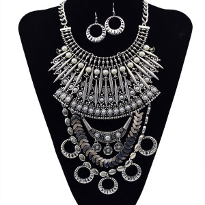 N-5593 European Style Silver and Gold Chunky Chain Carving Luxury Rhinestone Flower Tassel Choker Bib Statement Necklace
