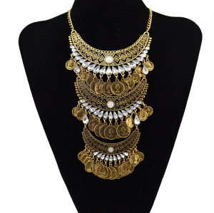 N-5592 European Style Gold Silver Plated Carving Flower Rhinestone Coins Tassels Crystal Statement Pendant Necklace
