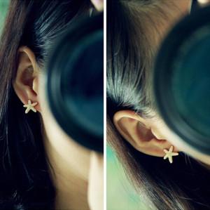 E-3499  Fashion Style Gold Plated Alloy Diamond Star Stud Earrings