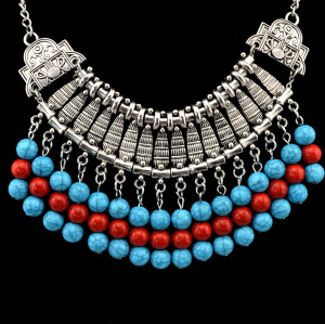 N-5588 European Style Silver Plated Chunky Chain Round Blue Bead Tassel Statement Necklace
