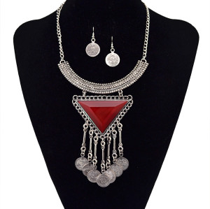 N-5599 European Fashion Women Silver Chain Metal Blue Red Black Big Crystal Triangle Coin Long Tassels Moon Statement Pendant Necklace