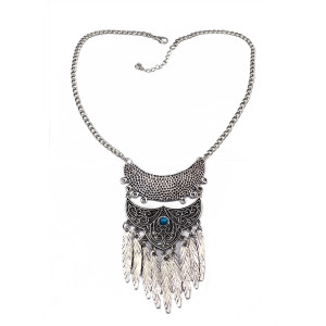 N-5609 Bohemian Vintage Style Gold & Silver Plated Carving Flower Moon Leaf Tassel Pendant Necklace For Women Earrings & Necklace Jewelery set
