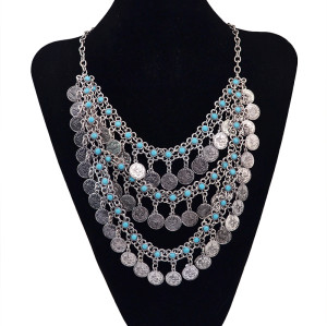 N-5580  Bohemian style multilayer chain blue red rhinestone coins long tassel pendant necklace Jewelry
