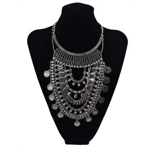 N-5607 New Fashion Turkish Gypsy Bohemian Fashion Silver Plated Crystal Carving  Necklace