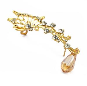 E-3511 Fashion style silver gold plated alloy rhinestone one piece left ear clip crystal earring