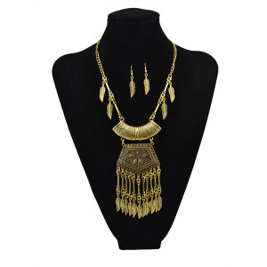 N-5606 2015 new European fashion jewelry vintage gold silver plated chain leaf long tassels necklaces&pendants earrings suit jewelry sets