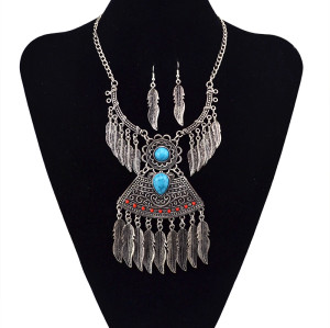 N-5608 Bohemian Style vintage gold silver plated chain leaf tassels turquoise pendant necklace & earrings set