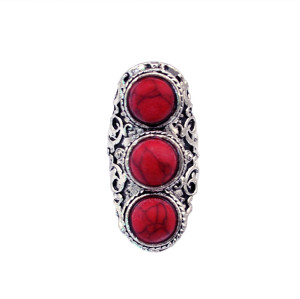 R-1194 Bohemian vintage style silver plated red amethyst ring for women jewelry