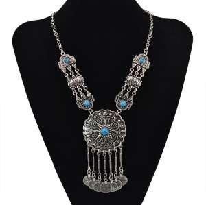 N-5601 New Bohemian Vintage Silver Tibetan Summer Style Blue Turquoise Big Flower Long Coins Tassel Pendant Necklace for Women Jewelry